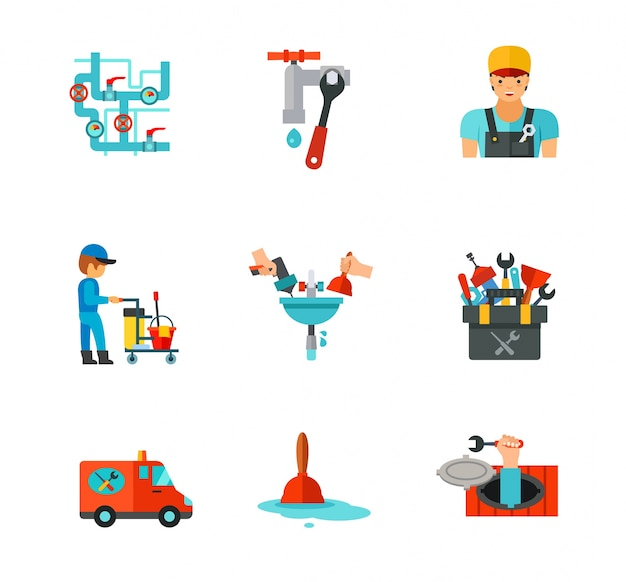 Conjunto de iconos de fontanero vector gratuito