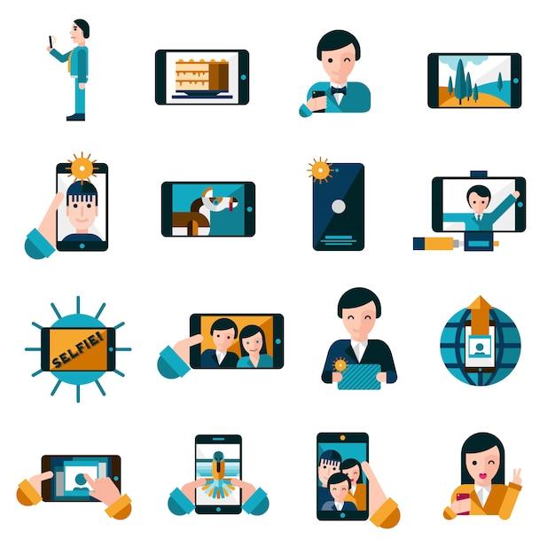Conjunto de iconos de fotos móviles vector gratuito