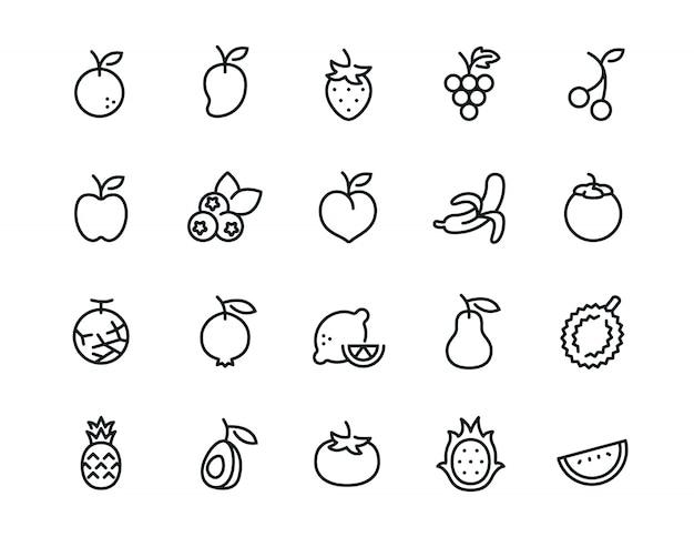 Conjunto de iconos de fruta mínima Vector Premium
