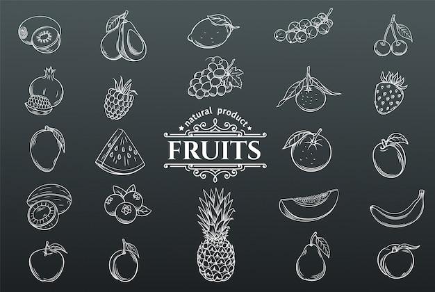 Conjunto de iconos de frutas dibujadas a mano. Vector Premium