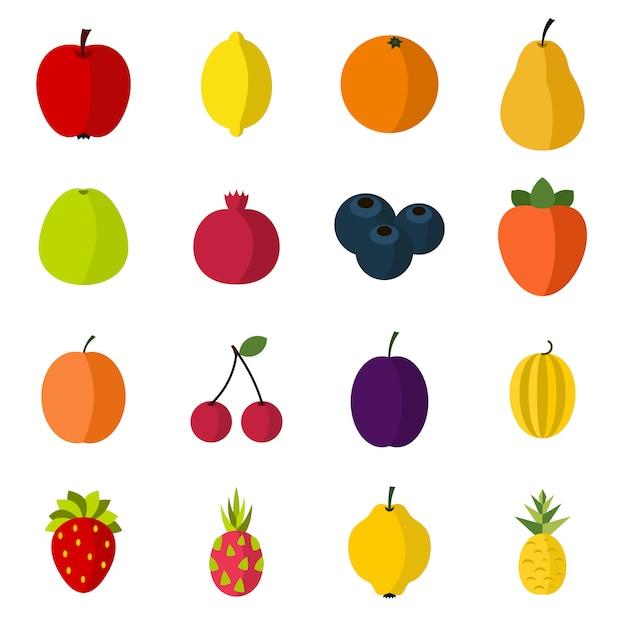 Conjunto de iconos de frutas Vector Premium