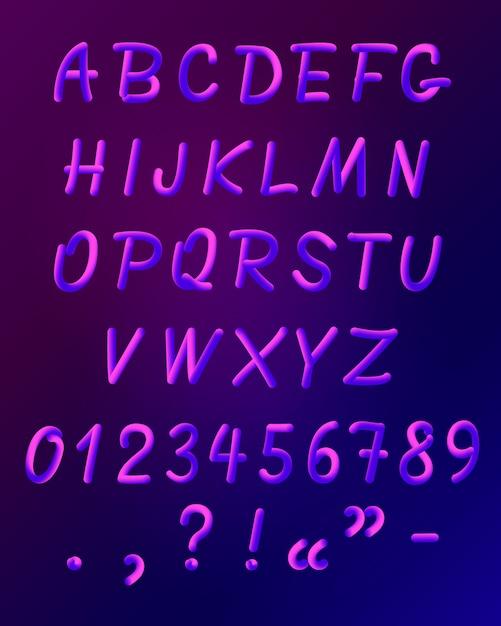 Conjunto de iconos de fuente de neón líquido vector gratuito