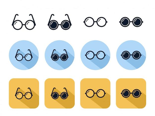 Conjunto de iconos de gafas circulares, accesorio de lente óptica de moda Vector Premium