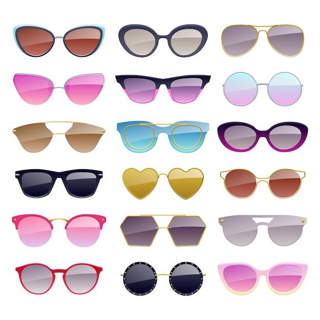 Conjunto de iconos de gafas de sol de colores. accesorios de gafas de moda. Vector Premium