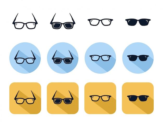 Conjunto de iconos de gafas de sol geniales, accesorio de lente óptica de moda geek Vector Premium