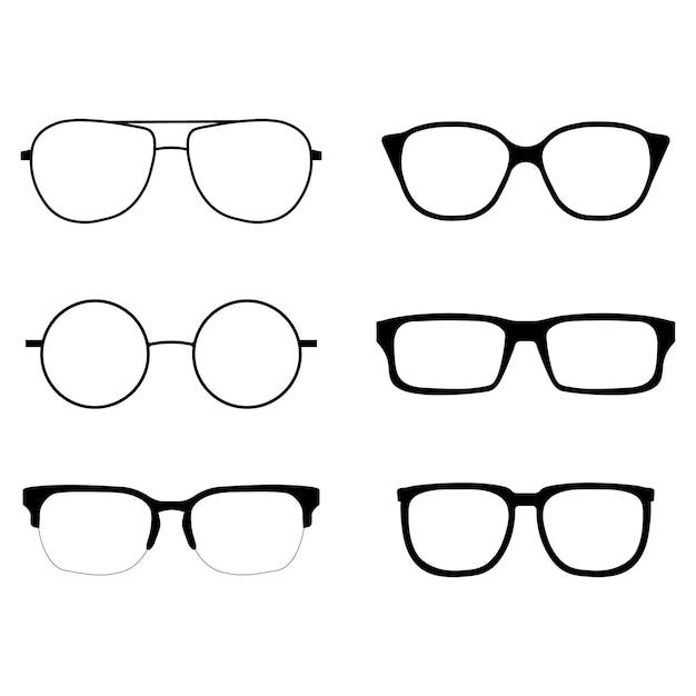 Conjunto de iconos de gafas Vector Premium