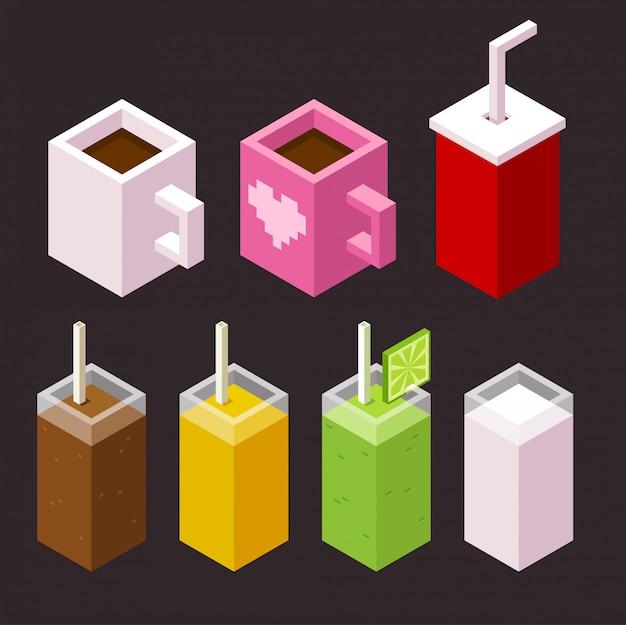 Conjunto de iconos de galletas y café Vector Premium