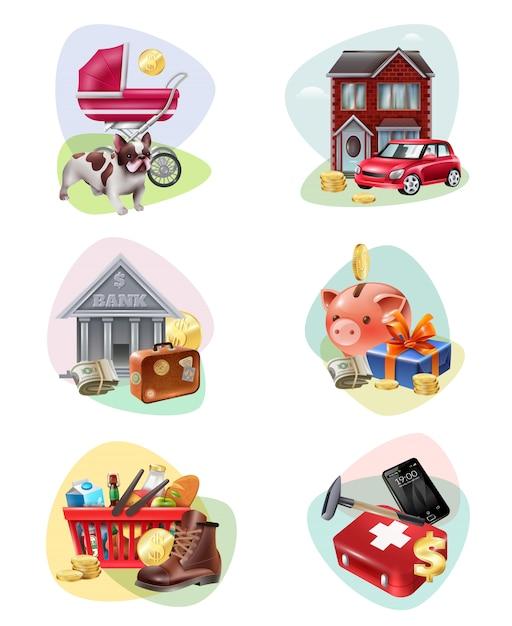 Conjunto de iconos de gastos financieros vector gratuito