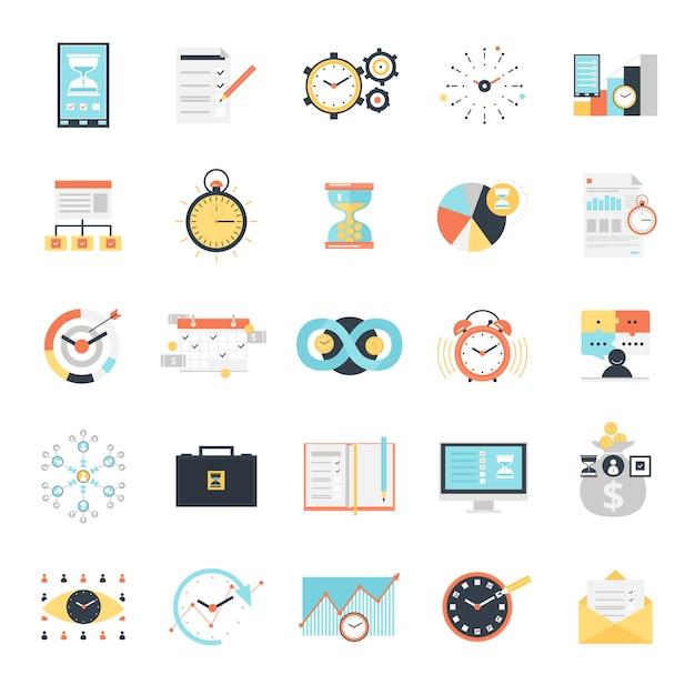 Conjunto de iconos de gestión de tiempo vector gratuito