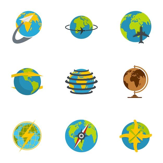 Conjunto de iconos de globo. conjunto plano de 9 iconos de globo Vector Premium