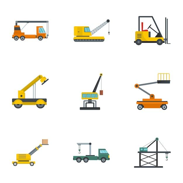 Conjunto de iconos de grúa de elevación, estilo de dibujos animados Vector Premium