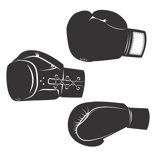 Conjunto de los iconos de guantes de boxeo sobre fondo blanco. elementos para logotipo, etiqueta, emblema, signo, cartel. ilustración. Vector Premium