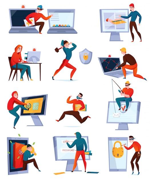 Conjunto de iconos de hackers con diferentes tipos de hackers que roban información que rompe el sistema informático vector gratuito