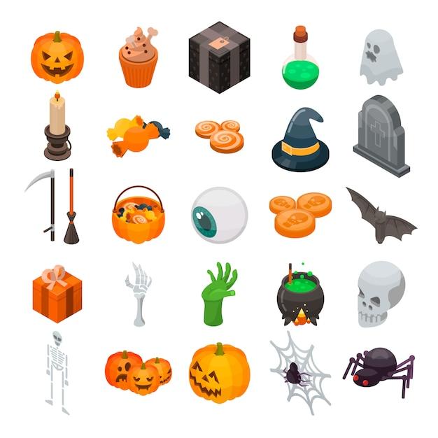 Conjunto de iconos de halloween. conjunto isométrico de iconos de vector de halloween para diseño web aislado sobre fondo blanco Vector Premium