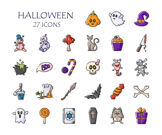 Conjunto de iconos de halloween - esquema de vector aislado calabaza, fantasma, monstruo, escoba, murciélago, caramelo, cráneo, muñeco vudú Vector Premium