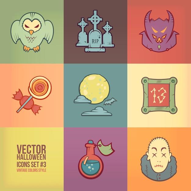Conjunto de iconos de halloween. estilo de colores vintage Vector Premium