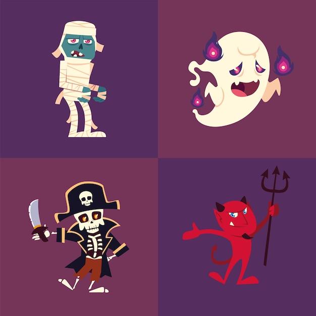 Conjunto de iconos de halloween con momia, fantasma, esqueleto y diablo Vector Premium