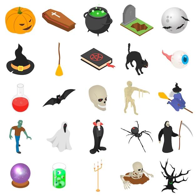 Conjunto de iconos de halloween Vector Premium