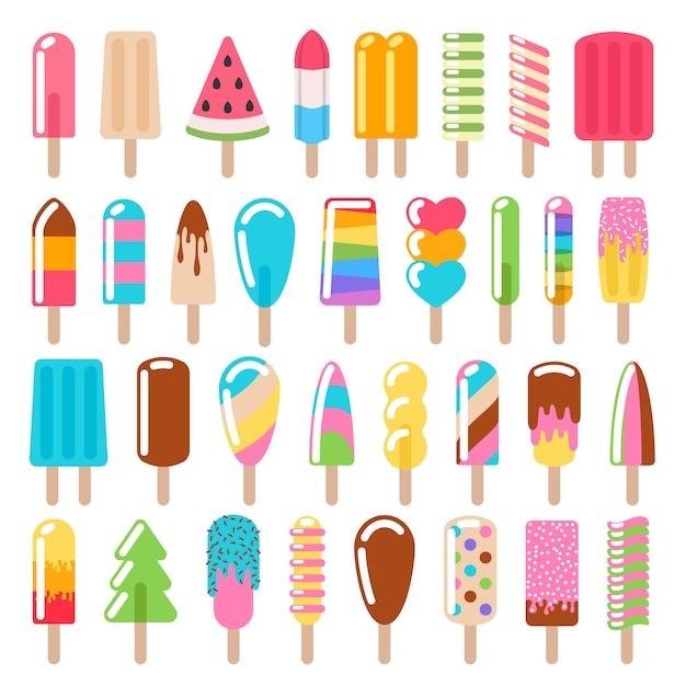 Conjunto de iconos de helado de paletas. Vector Premium