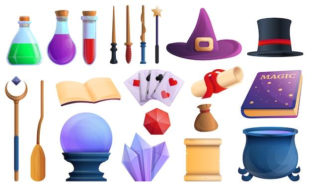 Conjunto de iconos de herramientas de asistente, estilo de dibujos animados Vector Premium