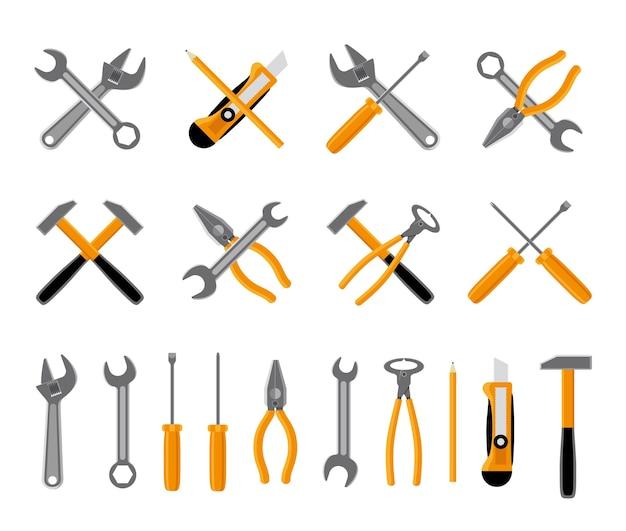 Conjunto de iconos de herramientas. martillo y llave, destornillador y llave. ilustración vectorial vector gratuito