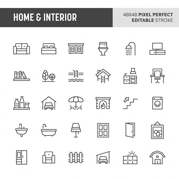 Conjunto de iconos de hogar e interior Vector Premium