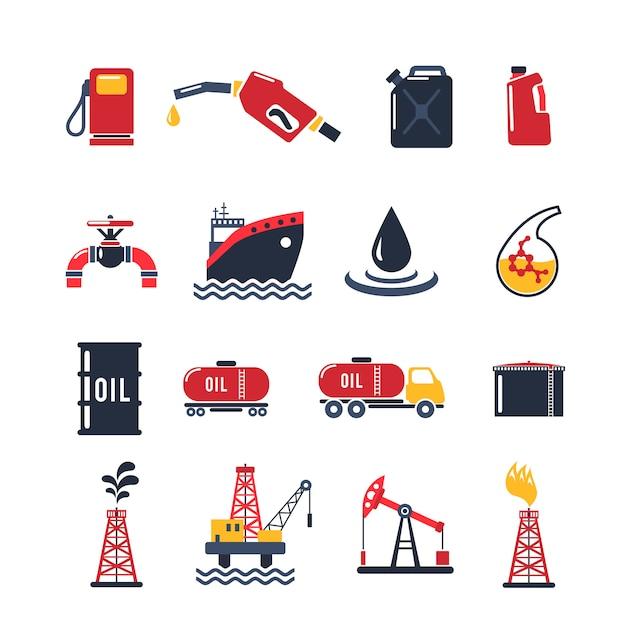 Conjunto de iconos de la industria petrolera vector gratuito