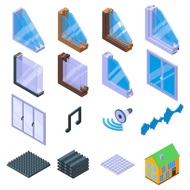 Conjunto de iconos de insonorización, estilo isométrico Vector Premium