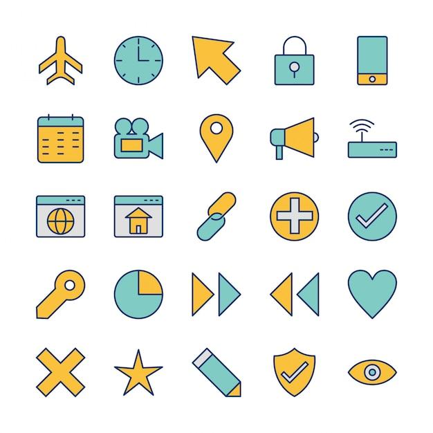 Conjunto de iconos de interfaz de usuario básica para uso personal y comercial Vector Premium