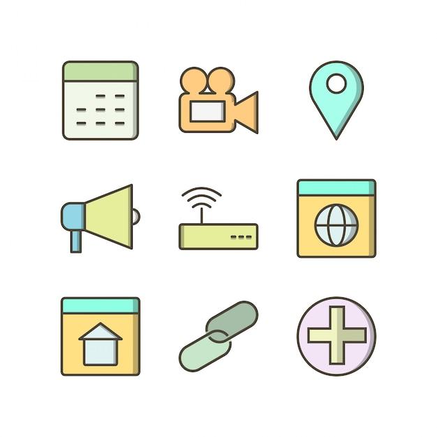 Conjunto de iconos de interfaz de usuario básica Vector Premium
