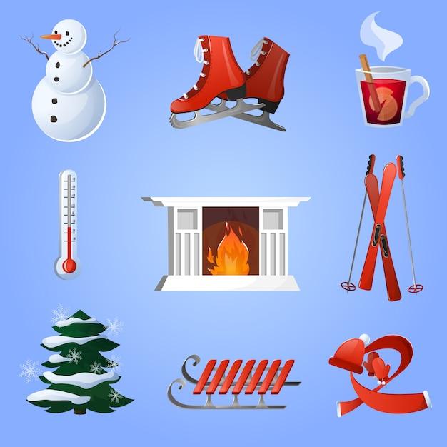 Conjunto de iconos de invierno vector gratuito