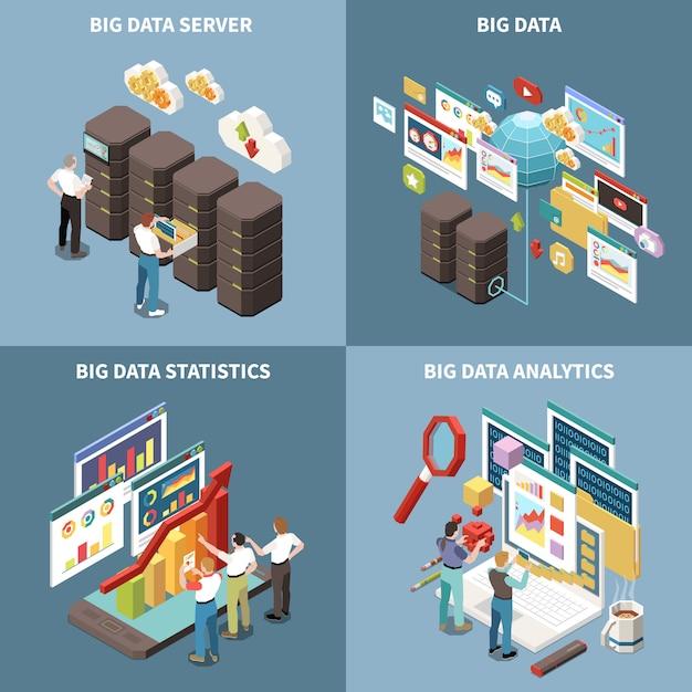 Conjunto de iconos isométricos de big data analytics con estadísticas de servidor y descripciones de análisis. vector gratuito