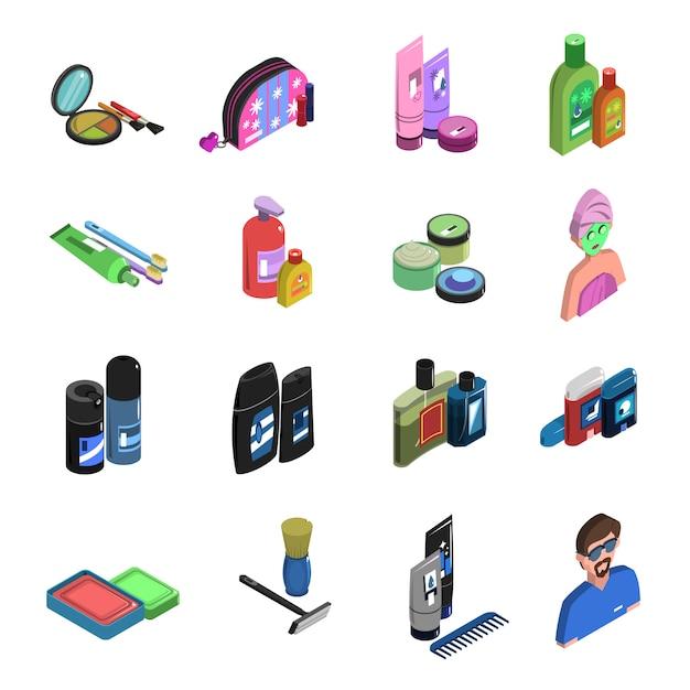 Conjunto de iconos isométricos bodycare vector gratuito