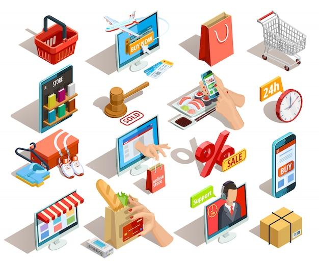 Conjunto de iconos isométricos de comercio electrónico de compras vector gratuito
