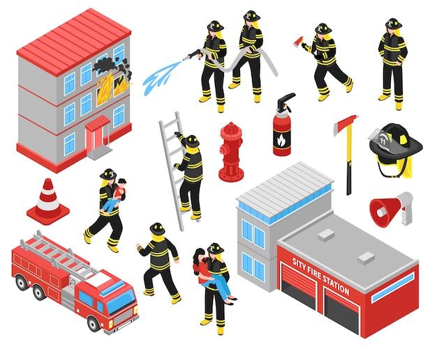 Conjunto de iconos isométricos del cuerpo de bomberos vector gratuito