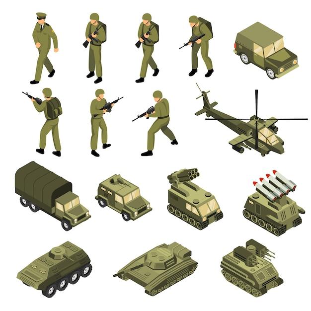 Conjunto de iconos isométricos del ejército vector gratuito
