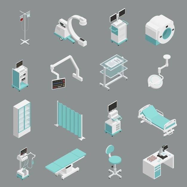 Conjunto de iconos isométricos de equipos de hospital vector gratuito