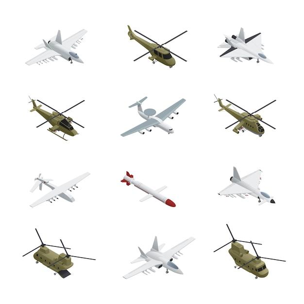 Conjunto de iconos isométricos de la fuerza aérea militar aviones y helicópteros con diferentes tipos de colores, tamaños y propósitos vector gratuito