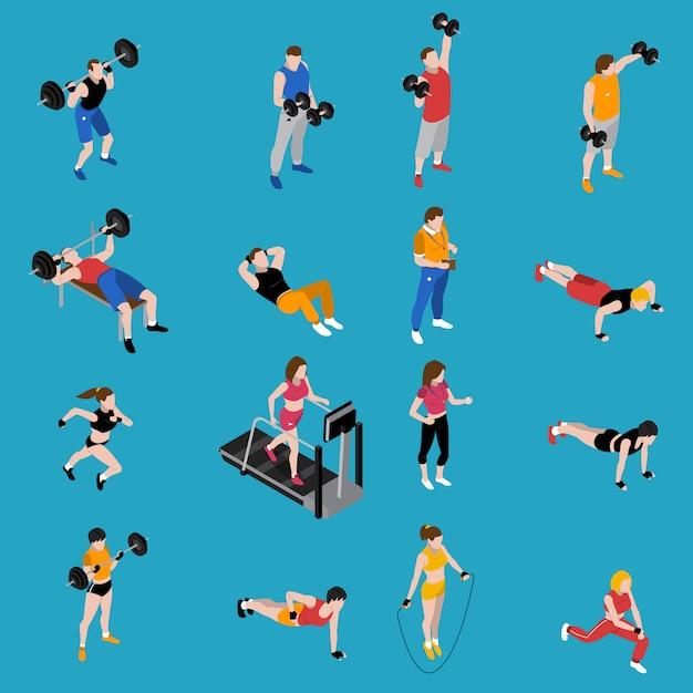 Conjunto de iconos isométricos de gimnasio vector gratuito