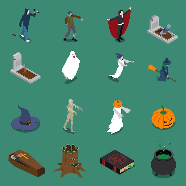 Conjunto de iconos isométricos de halloween monstruo vector gratuito