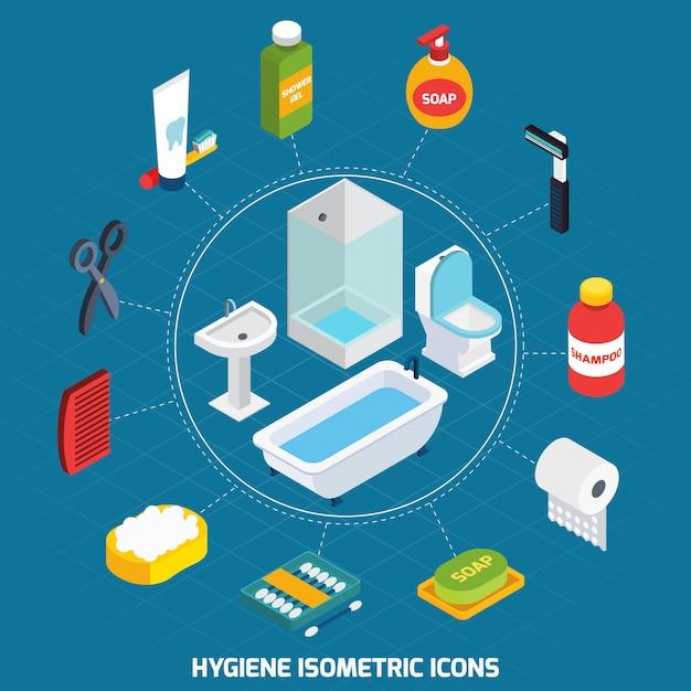 Conjunto de iconos isométricos de higiene vector gratuito