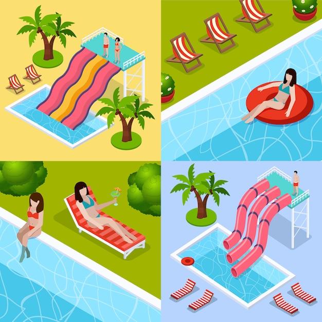 Conjunto de iconos isométricos de parque acuático aquapark vector gratuito