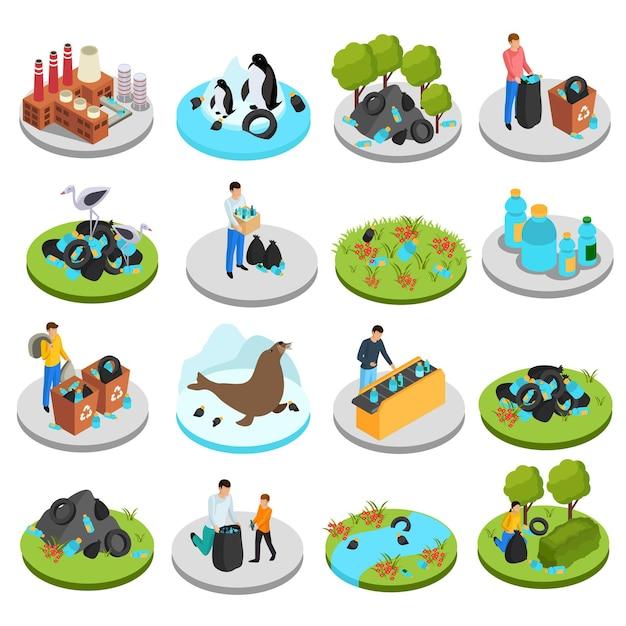 Conjunto de iconos isométricos de plástico drástico de dieciséis imágenes aisladas con contenedores de basura, plantas y personajes humanos vector gratuito
