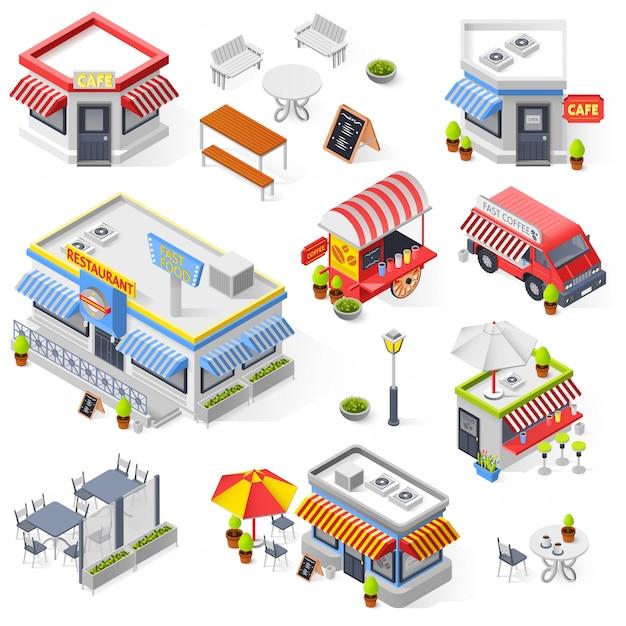 Conjunto de iconos isométricos de restaurante y cafetería de la calle vector gratuito