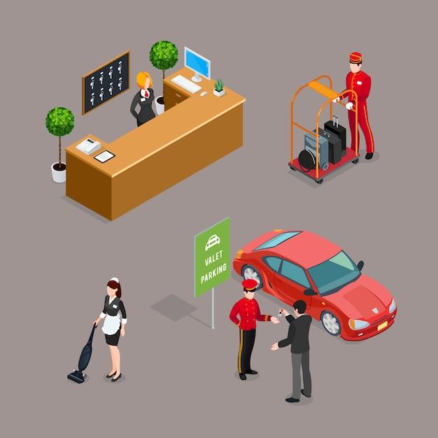 Conjunto de iconos isométricos de servicio de hotel vector gratuito
