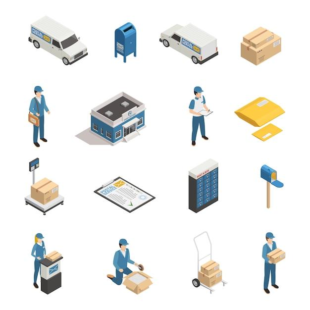 Conjunto de iconos isométricos de servicio postal vector gratuito