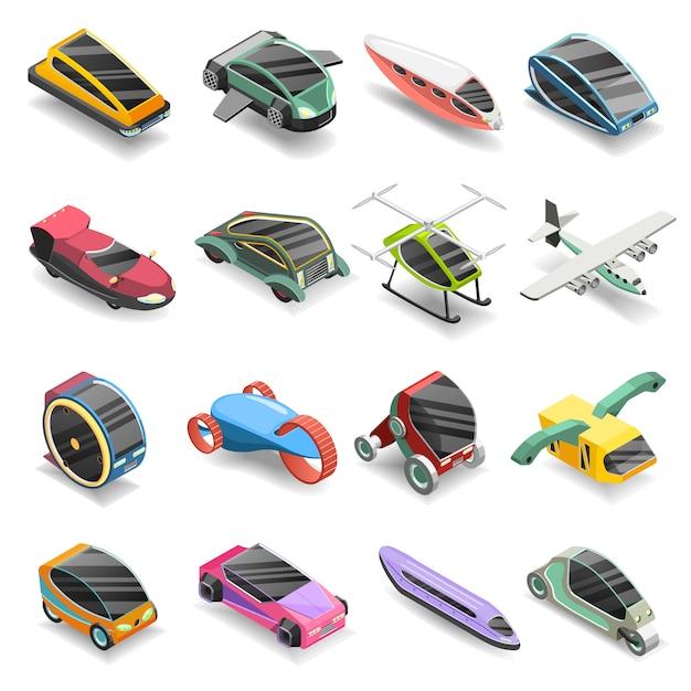 Conjunto de iconos isométricos de transporte futuro vector gratuito