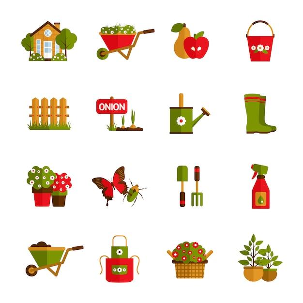 Conjunto de iconos de jardinería vector gratuito