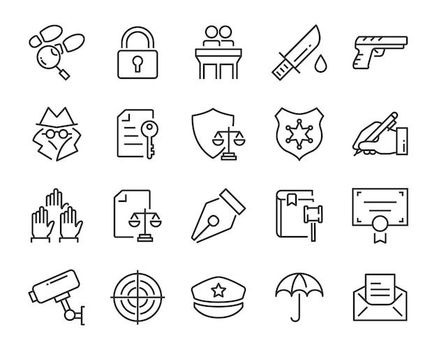 Conjunto de iconos de juctice, como derecho, abogado, trabajo, legal, seguro Vector Premium