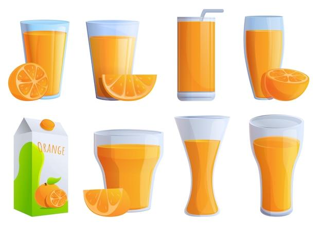 Conjunto de iconos de jugo de naranja, estilo de dibujos animados Vector Premium